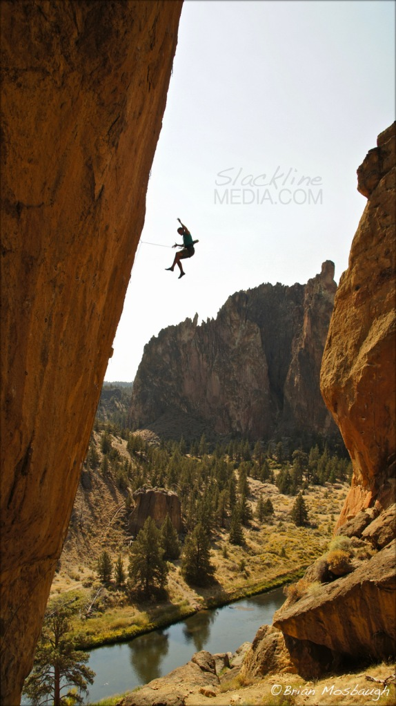 Corey McCarthy takes the whip on Aggro Monkey (5.13b) at Smith Rock State Park.