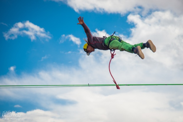 Mickey Wilson styling an amazing chest bounce on an 88 foot long highline 350 feet above the ground. Like a boss!