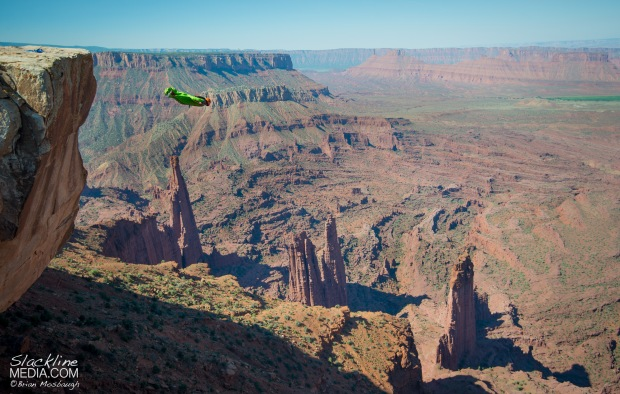 On June 22, 2015, Richard Webb became the second person in history to fly Moab's biggest established wingsuit flight above the notorious Fisher Towers. Dragon's Nest offers an incredible view of Castle Valley with roughly 2,200' of total altitude to play with and long commiting flights around the massive mud towers that make this landscape so special. Richard for a long time now has been pioneering new exits all over Moab's low cliff enviroment and this is by far one of the proudest lines in the vast desert playground to date.