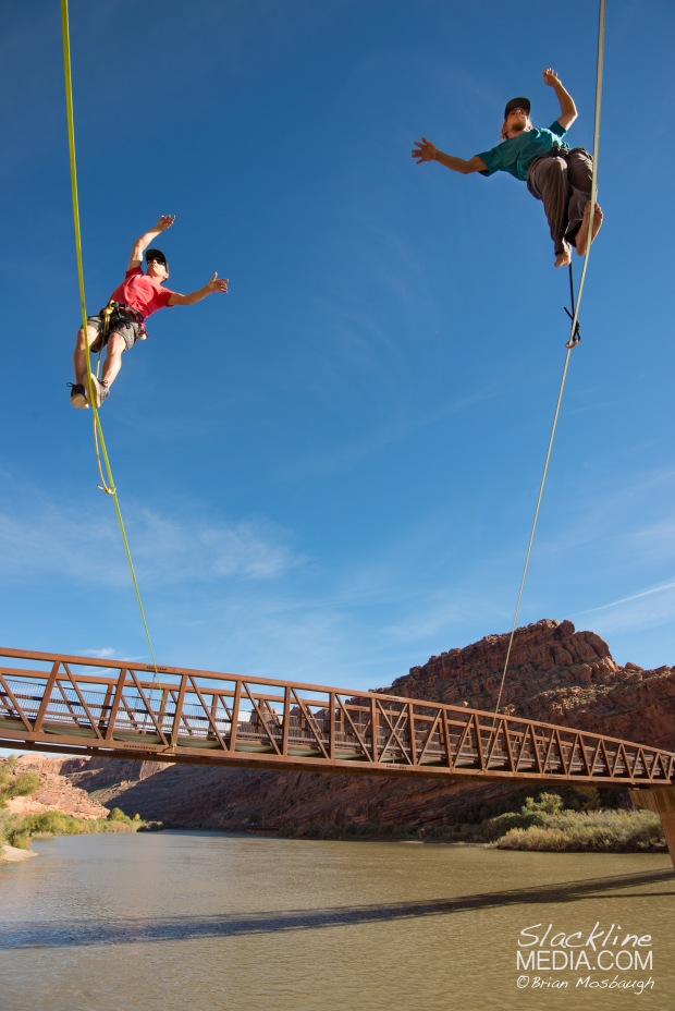 Richard Webb and Aaron Livingston walking along the alternative and slightly more precarious pedestrian bridge in Moab.