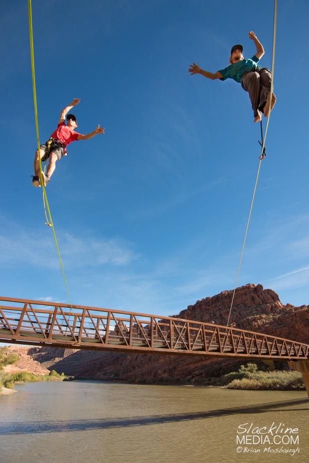 Richard Webb and Aaron Livingston walking along the alternative and slightly more precarious pedestrian bridge in Moab.