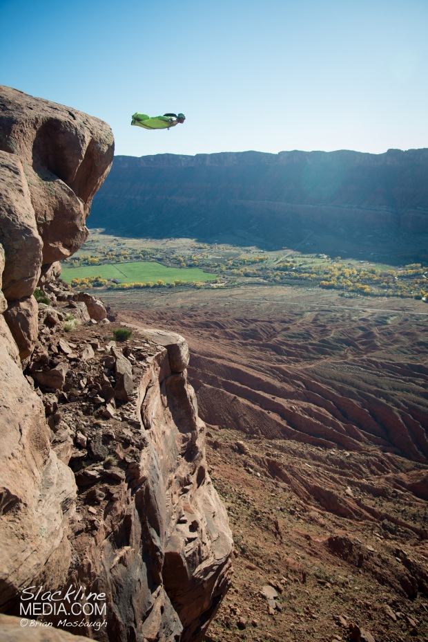 Spread your wings and fly! Richard Webb has been establishing new BASE exits all over Moab for many years now and with the evolution of wing suit technologies he's been able to approach these notoriously low and committing jumps with a new set of eyes. Mind you Moab is not a