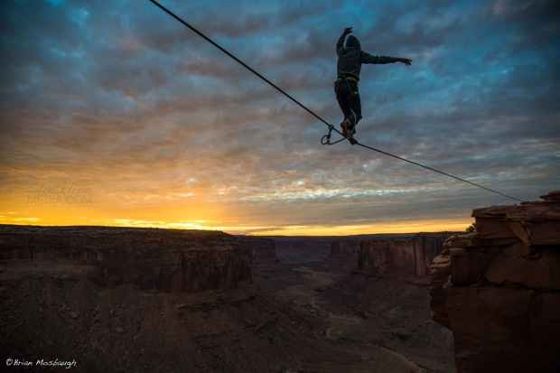 One of the more beautiful sunsets I've seen in Moab was magically complimented by Michael Blackwill's graceful send of Dean's Line high above Mineral Bottom Canyon. A truly beautiful moment that will be remembered...