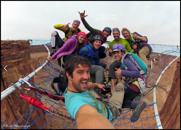 Imagine a triangular shaped, hand woven hammock, suspended 400' above the desert floor and in the middle of a 420' wide canyon... This is what you are seeing here just before 5 BASE jumpers exited from the net for the first time in history. This project was the brainchild of the always creative and sketchy Andy Lewis.