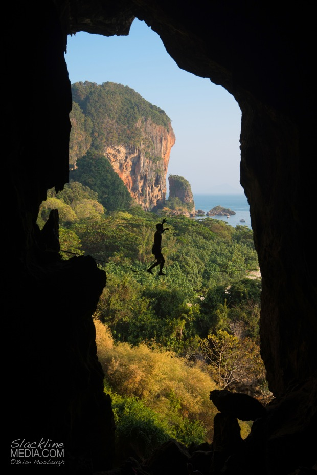 One of the great joys I find in highlining is the exploration for new space all over the wold. On a recent expedition to Thailand I was able to rig many new slacklines, including this cave highline around the infamous climbing area of Tonsai. Rigging in the dark and utilizing all natural anchors, I handed my girlfriend my camera, framed up a shot and had her document this image as I passed by the portal exit. Thanks Aleta Edinger for hitting the shutter button and enduring the hot conditions.