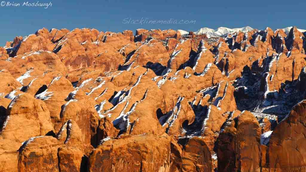 Snow capped Moab landscape