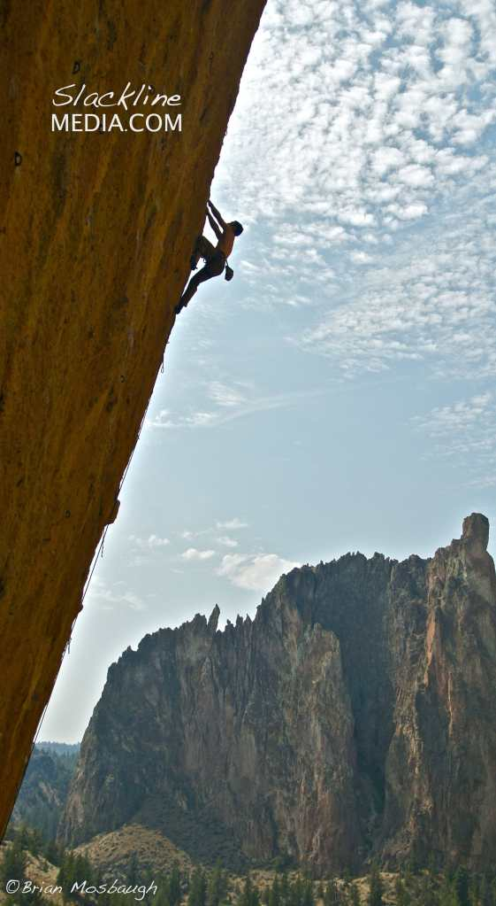 Brad Gobright working through the long overhung moves on Aggro Monkey (5.13b).