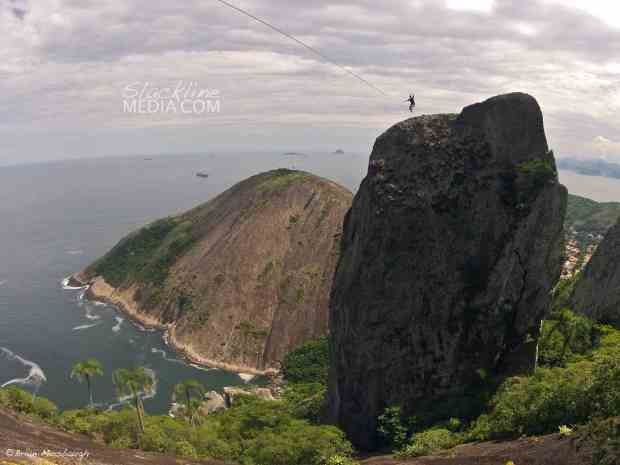 Scott Rogers getting his send on the longest highline in Brazil, weighing in at 47 meters long and very exposed.