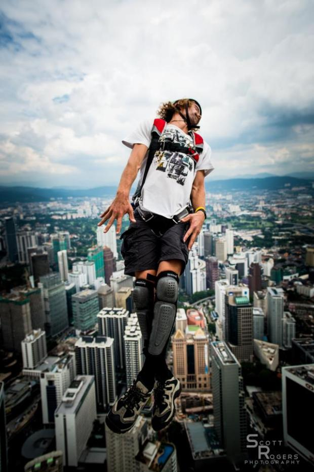 Malachi Templeton - performing a difficult aerial off KL tower in Malaysia.