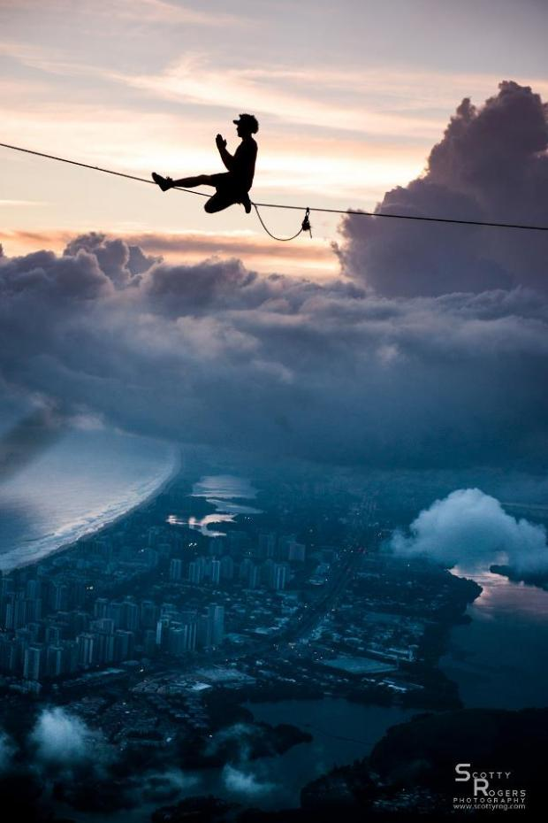 Walking in the clouds above Rio de Janeiro.