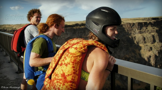 Andy Lewis, Scott Rogers and Hayley Ashburn moments before jumping from the bridge