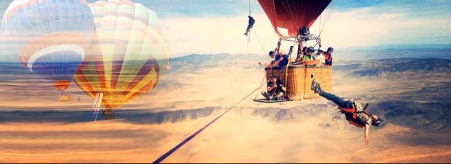 Highline Balloon Stunt
